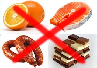 Потенциально опасные продукты при дерматите